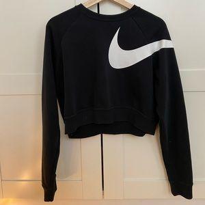 Nike Cropped Black Checkmark Sweatshirt